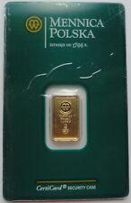 MINT OF POLAND Gold 2g 999.9 Fine Gold Bar Sealed RARE