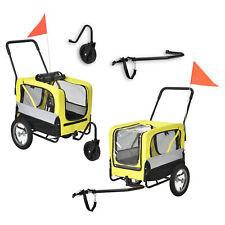 Fahrradanhänger 2 in 1 Anhänger Jogger Hundeanhänger Hunde Transport Gelb