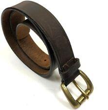 S XS Brown Leather Belt Brass Buckle Grunge Hippie Cherokee 36bb8c331cb