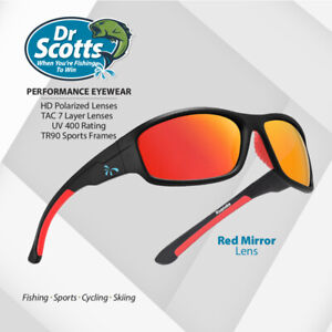 Dr Scotts Red Mirror HD Polarized Cycling Fishing Golf Sunglasses 100% UVA/UVB
