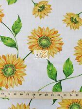 SUN FLOWER PRINT POLY COTTON FABRIC-White-POLYCOTTON 58/59 SUNFLOWER - P68