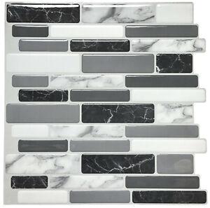 Peel and Stick Tile Kitchen Bathroom Backsplash Grey White Brick Stick on Tile