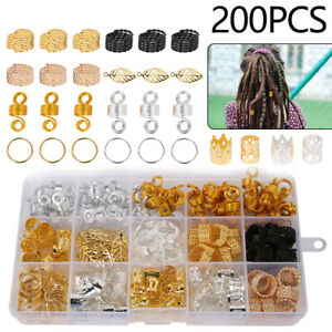 200pcs Hair Braid Dreadlock Beads Braiding Hair Extension Accessories Fashion