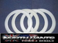 """4X 13"""" WHITE WALL TYRE TRIMS WHITEWALL FORD VAUXHALL 13"""" WW FLAPS"""
