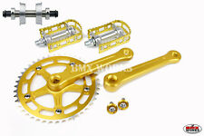 ProMX BMX 3 Piece Aluminium Cranks Set Gold & MKS BM-7 Pedals & Bottom Bracket