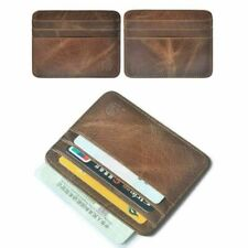 Simple Genuine Leather Slim Mini Front Pocket Wallet Thin Credit Card Holder NEW