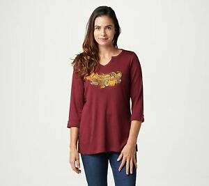 New Quacker Factory Blessed 3/4 Sleeve Top Autumn Theme Pumpkins Embroidery 2X
