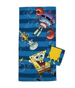 Nickelodeon SpongeBob Squarepants 2 Piece Bath Towel + Washcloth Set NEW
