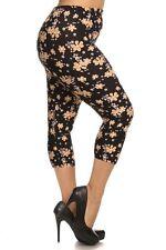 New Color B Plus Size Sexy Capri Multi Floral Print Leggings Curvy 1XL-3XL R566