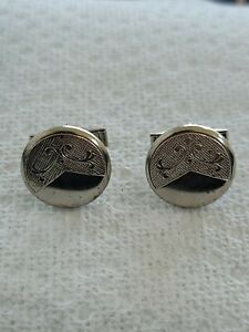 ANTIQUE AND VINTAGE SILVER COLOR  ROUND ENGRAVABLE CUFFLINKS.