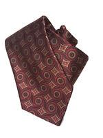 Valentino Mens Geometric Italy Luxury Designer Silk Neck Tie Red Gold Sz 57 X 4