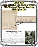 CIVIL WAR 1863 Brev. Gen. Joseph Fisher, Chief Justice of Wyoming, Signed Doc.
