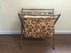 Beautiful Vintage Folding Sewing Knitting Basket Cloth Bag Fabric Wood Frame MCM
