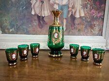 Moser Bohemian Czech Cameo Decanter Cordial Rare Set Emerald Green Gold Enamel