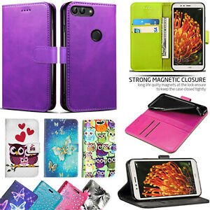 For Huawei P Smart / Enjoy 7S FIG-LX1 - Wallet Leather Case Cover+Tempered Glass