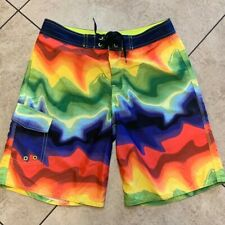 Vintage Op Ocean Pacific Made in Usa! Colorful Swim Trunks Shorts Size 32