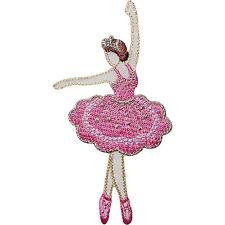 Ballerina Embroidered Iron Sew On Patch Pink Ballet Dress Leotard Tutu Bag Badge