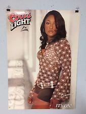 COORS LIGHT BEER POSTER BLACK GIRL MODEL IN HOT PANTS