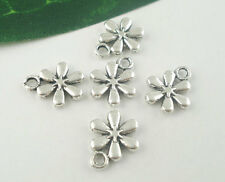50 PCs Silver Tone Flower Charms Pendants Jewelry Making 13x11mm