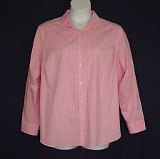 Chaps Pink White Check No Iron Cotton Spring Top Womens Plus Size 2X 1X