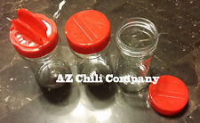 Plastic Spice Containers 6 Oz PET Spice Jars Round Dual Cap Sifter Spoon 100 Qty