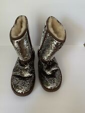 "UGG Australia ""Classic Short Sparkles"" Womens Brown Sequin Boots Size 8"