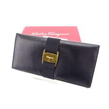 3d88d4bd06 Salvatore Ferragamo Wallet Purse Vera Black Gold Woman Authentic Used Y3579