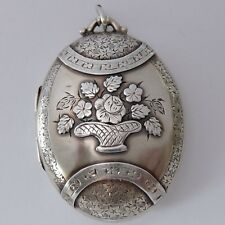 FINE ANTIQUE VICTORIAN ENGRAVED STERLING SILVER FLOWER BASKET MEMORIAL LOCKET