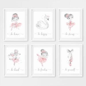 Ballerina Princess Girls Nursery Wall Art Prints Pink & Grey Childrens Pictures