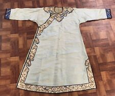 Beautiful Antique Chinese Silk Robe With Figures And Fine Gold Thread