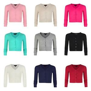 Girls Fine Knit Long Sleeve Cropped V-neck Cardigan Kids Sweater Top 3-14 Years