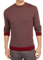 Tasso Elba Mens Sweater Red Size Small S Birdseye Knit Crewneck Pullover $65 280