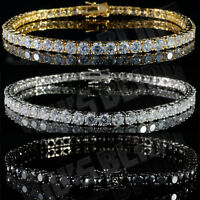 18k Gold Silver Black 1 Row Bling Out Iced Lab Diamond Hip Hop Tennis Bracelet