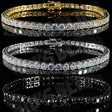 18k Gold Silver Black 1 Row Bling Out Iced Lab Diamond Hip Hop Tennis Bracelet