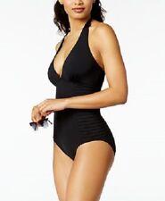 NWT Calvin Klein Swimsuit Bikini one 1 piece Size 16 Halter Black 50+ UPF