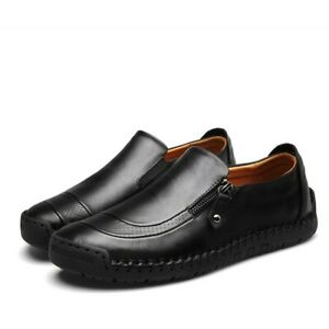 Mens Leisure PU Leather Casual Zipper Driving Shoes Breathable Loafers Moccasins