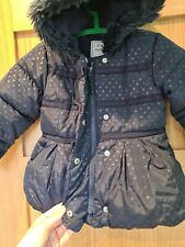 Girls Navy Fur Lined Hooded Jacket Age 2-3 Years