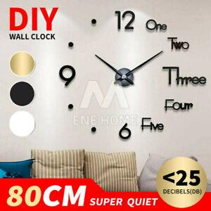 3D Wall Clock Acrylic Modern DIY Mirror Surface Sticker Home Office Decor