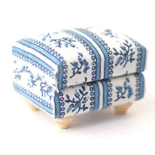 Dolls House Miniatures 1/12th Blue & Flowers Footstool Accessory DF891 *