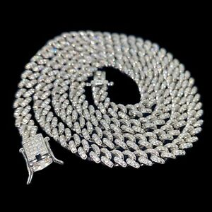 Real Solid 925 Sterling Silver Miami Cuban Chain Micro Pave Iced Necklace 16-24""