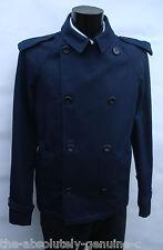 AQUASCUTUM Navy Blue MARDIN Double Breasted Pea Coat Jacket sz L rrp £550