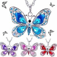 Vintage Crystal Silver Butterfly Pendant Sweater Long Chain Necklace Elegant Hot