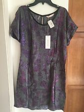 Rebecca Taylor Silk Short Sleeve Tunic Flower Print Purple/gray Size 8 Sold Out!