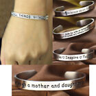 Engraved Bracelet Inspirational Family Stainless Steel Open Cuff Bangle Friends