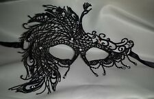 Venetian Black Filigree Masquerade Ball Mask Gothic Halloween Party Diamante #5