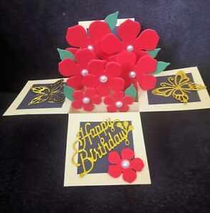 3D Pop up Box Birthday Card Flower Butterflies Handmade