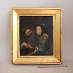 Antique Oil Painting Man & Woman After Old Master 19th-C Gold Frame Mystery Vtg