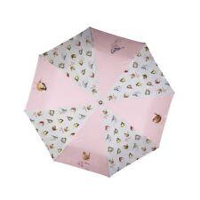 Wrendale Design Garden Birds Umbrella - Telescopic Pink Illustrated Umbrella