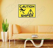 """Caution Sniper Killer Assassin Funny Wall Sticker Room Interior Decor 25""""X20"""""""