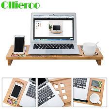 Ollieroo Bamboo Monitor Stand Riser Storage Organizer Laptop Desktop Container